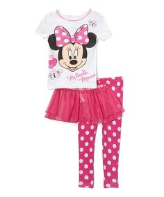 Look at this #zulilyfind! Pink Polka Dot Minnie Pajama Set - Toddler by Disney #zulilyfinds
