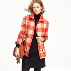 Stadium-cloth car coat in buffalo plaid