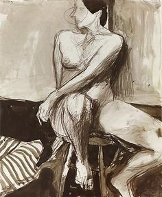 Richard Diebenkorn, Nude, 1963  Ink, gray wash and conté crayon on paper  17 x 14 inches (43.2 x 35.6 cm)  RD 424