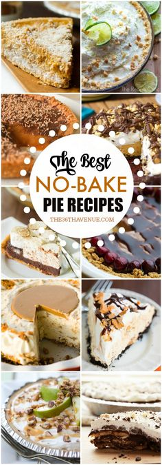 15 Delicious No-Bake Pie Recipes - Fall recipes are the best and these NO BAKE PIE RECIPES are beyond delicious! Make any of these yummy pie recipes for Thanksgiving or for any time you are craving a quick and easy dessert!:
