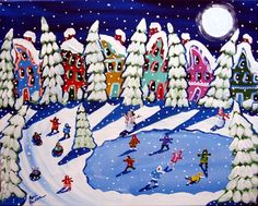 Winter Folk Art Christmas Ice Skaters Snowman Whimsical Original Painting. $139.00, via Etsy.