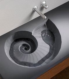 Ammonite sink. I really like this idea. Well sealed and made of a hard material, this could be pretty neat.