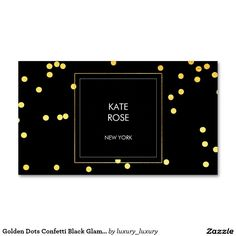 Golden Dots Confetti Black Glam Vip Pack Of Standard Business Cards