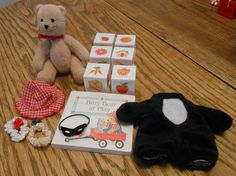 American Girl Bitty Baby Bitty Bear at Play/Book/Racoon Costume/Blocks/Hats lot -