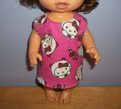 Baby 12 inch Alive doll handmade dress pink with Hello Kitty on it by sue18inchdollclothes on Etsy