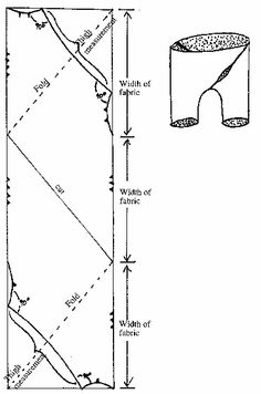 Diagram showing cut of braies on the bias. This style is very comfortable and is cut on the bias so it fits very smoothly over the thighs. Finish all cut edges with narrow hems and oversew seams. Leave a fly opening in the front seam.