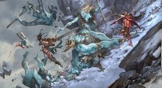 Pathfinder by Jesper Ejsing. ArtStation    Cover background for Paizo´s Pathfinder Giant Slayer expansion