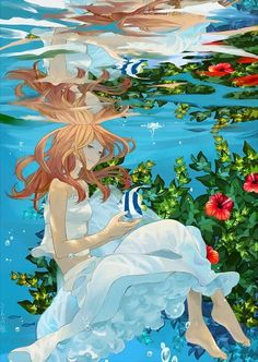Awesome: It's amazing. I can feel the cool water just by looking at this picture!! Love it! ----Anime Manga Art Water Girl Fish----