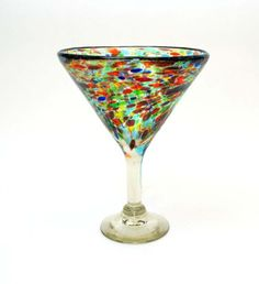 Set of 4, Handmade Mexican Confetti Martini Shaped Margarita Glasses, Recycled Glass-14 Ounce.