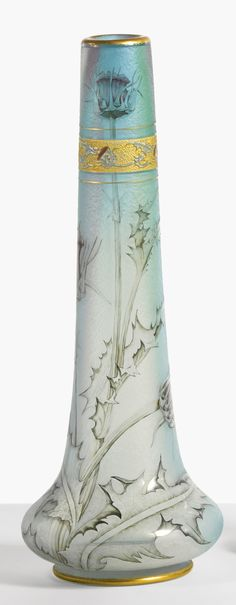 Thistle vase in cameo glass by Daum, Nancy, France