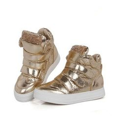 Free shipping Children shoes 2013 new brand autumn & winter girls boys high casual sneakers with diamond decoration gold silver-inSneakers f...