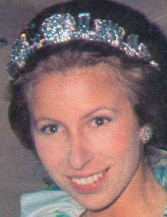 1974 HRH Princess Ann wearing her aquamarine sparkler