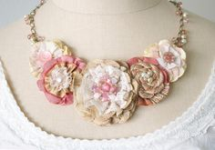 Blush Pink Fabric Flower Necklace Statement by rosyposydesigns