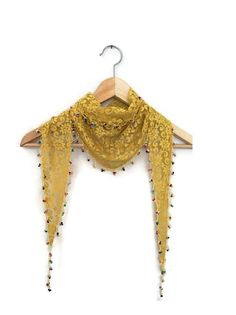 Mustard Lace Scarf with crocher beads by SpecialFabrics on Etsy, $15.00