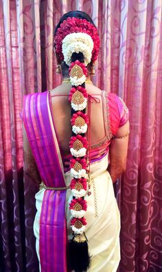 South Indian bride. Temple jewelry. Jhumkis.silk kanchipuram sari.Braid with fresh flowers. Tamil bride. Telugu bride. Kannada bride. Hindu bride. Malayalee bride.Kerala bride.South Indian wedding.
