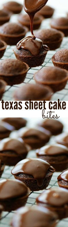 Texas Sheet Cakes Bites Recipe via Life in the Lofthouse - The BEST Bite Size Dessert Recipes - Mini, Individual, Yummy Treats, Perfectly Pretty for Your Baby and Bridal Showers, Birthday Party Dessert Tables and Holiday Celebrations!