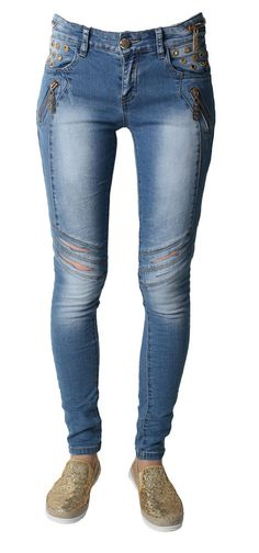 Women Ladies Sexy Stretch Faded Ripped Skinny Fit Denim Jeans Size 6-14