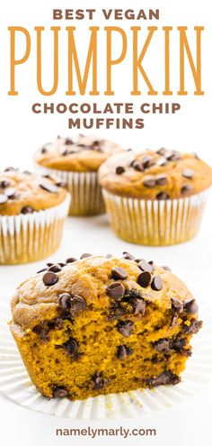 Pumpkin Chocolate Chip Muffins This is the BEST Pumpkin Chocolate Chip Muffins recipe! It has a tender, pumpkin infused muffins LO Muffins Chocolate Chip, Pumpkin Chocolate Chip Muffins, Vegan Chocolate Chip Muffin Recipe, Vegan Chocolate Chips, Gluten Free Pumpkin, Pumpkin Recipes, Vegan Pumpkin Muffin, Pumpkin Loaf, Vegan Dessert Recipes