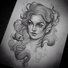 <img> Drawing up Abby& bearded woman got me inspired to sketch an old favorite… I don& think I could ever get sick of drawing mermaids. I love giving them big ol fish eyes 🐠🐠🐠 would kill to tattoo this someday. See Tattoo, Dark Tattoo, Tattoo Sketches, Tattoo Drawings, Evil Mermaids, Girl Face Drawing, Bearded Lady, Pin Up Tattoos, Tatoos