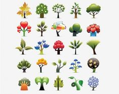 25 Funky Abstract Trees Icons Vector Set - http://www.welovesolo.com/25-funky-abstract-trees-icons-vector-set/