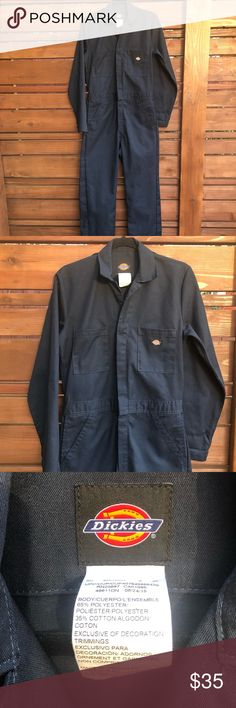 "Dickies unisex size Small coveralls - New Dickies unisex coveralls Navy, size Small. Long sleeve, zip up and snap front.   Measurements: Shoulder to shoulder: 16.5"" Sleeve length: 25"" armpit to armpit: 19"" across Waistband (laying flat/unstretched): 32"" Pant Inseam: 31"" Dickies Pants Jumpsuits & Rompers"