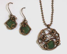 Copper Wire Aventurine Floral Pendant and Earring Set Sterling Beads | BDJDesigns - Jewelry on ArtFire