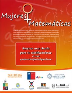 Investigadoras en matemática ofrecen charlas para hablar de ciencia y desigualdad de género.  www.explora.cl/rmnorte/noticias-metropolitana-norte/4198-investigadoras-en-matematica-ofrecen-charlas