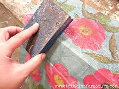 Sweet Pickins - paper napkins on wood with modpodge