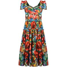 DOLCE & GABBANA Sateen Cotton Floral A Line Dress ($1,290) ❤ liked on Polyvore