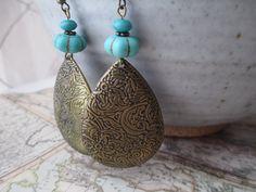 Turquoise Earrings Etched Earrings Brass Earrings Boho Earrings Dangle Earrings Jewelry  Lightweight Earrings Earrings under 10 by MillyLillyDesigns on Etsy