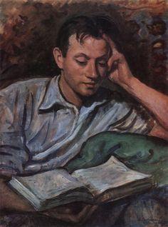 """Alexander Serebryakov, Reading a Book"", 1946 / Zinaida Serebriakova (1884-1967)"