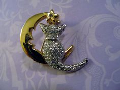 Imaginative Figural Kitty Cat in Moon Brooch Pin Goldplated Vintage Pave Stones #unsigned