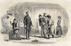 "Dickens's Bleak House - 1873 - """"SHOOTING GALLERY VISITORS"""" - Steel Engraving"