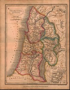 Palaestina Antiqua Palestine Middle East Antique Map 1822