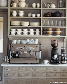 In Martha's muted Bedford kitchen, the drawer fronts and knobs really are the stars. (Martha Stewart Living)