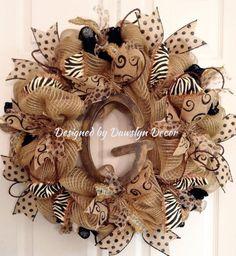 Burlap Deco Mesh Initial Wreath Burlap Wreath by DawslynDecor, $95.00