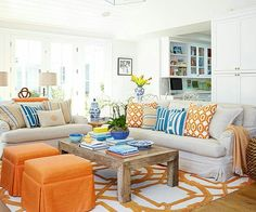 Living Room Color Schemes - A color scheme can set the tone for your living room. Find a fresh look for your space with these color combinations and living room paint ideas. Coastal Living Rooms, Living Room Paint, Home Living Room, Living Room Decor, Living Spaces, Small Living, Modern Living, Cozy Living, Apartment Living