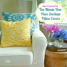 easy fast ten minute one piece envelope pillow covers tutorial at thehappyhousie