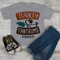 b320c4e9 Funny Toddler Thanksgiving T Shirt Turkey & Tantrums Tee #Toddlerlife Shirts