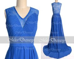 Blue Chiffon Lace Evening Gown Straps Floorlength by MissDressesy, $149.00