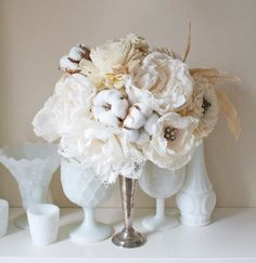 "Check out this gorgeous ""paper"" flower bouquet! I suspect it's more fabric and cotton....but uh....I'm not complaining. :D"