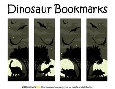 Free printable dinosaur bookmarks. The dinosaurs include a T-Rex, stegosaurus, and more. Download the PDF template at http://bookmarkbee.com/bookmark/dinosaur/