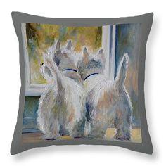 Russian Blue Spoiled Rotten Cat Throw Pillow 14x14