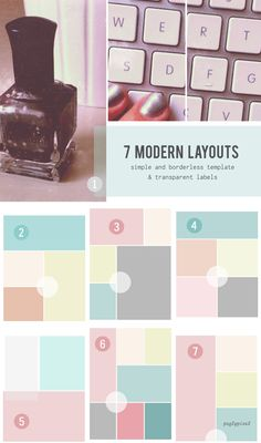 Modern photo layout templates, via Pugly Pixel. Web Design, Blog Design, Layout Design, Layout Template, Templates, Blog Layout, Portfolio Layout, Album Design, Photo Layouts
