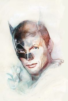 A drawing by Bill Sienkiewicz, in Memoriam of Adam West, The actor that Played Batman in the (September 1928 – June Adam West Batman, Batman Y Robin, Batman 1966, I Am Batman, Batman Stuff, Superman, Batman The Dark Knight, Dc Comic Books, Comic Art