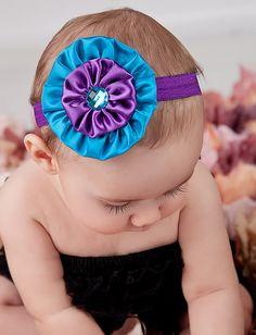 Penelope purple/turquoise headband - satin, rhinestone, fold over elastic Flower Girl Headbands, Ribbon Headbands, Vintage Headbands, Diy Headband, Baby Headbands, Making Hair Bows, Diy Hair Bows, Diy Bow, Kanzashi Flowers