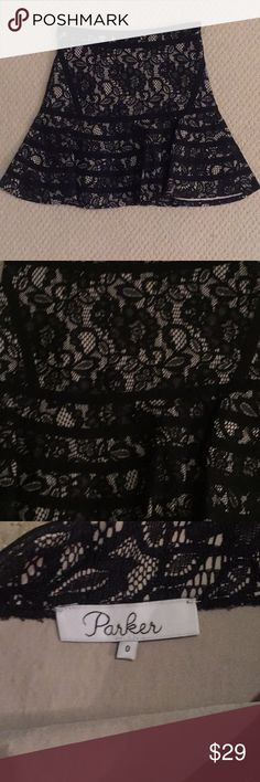 Parker fit and flare mini skirt, black lace, Sz 0 Parker fit and flare mini skirt, black lace, Sz 0,  new without tags Parker Skirts Mini