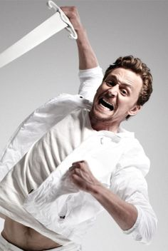 I'm going  to slay this Frost Giant for you, Dawn!  Tom Hiddleston as photographed by Ian Derry.