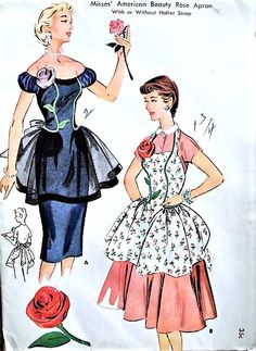 1950s BEAUTIFUL  American Beauty Rose Hostess Apron Pattern McCALLS 1918 Two Lovely Styles One Size Vintage Sewing Pattern FACTORY FOLDED
