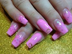 Pink starred speckled hello kitty nails coffin shape